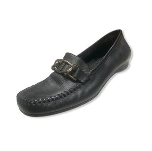 Life Stride Womens Black Leather Slip-On Loafers 7